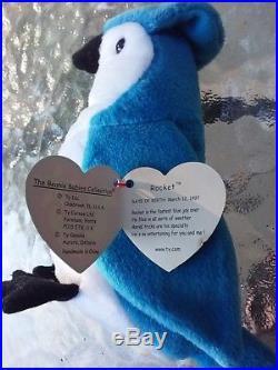 422ef86938a Ty Rocket Retired Beanie Baby W Ultra Rare Errors Blue Jay Bird