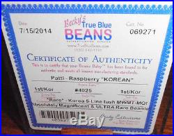 ULTRA RARE Authenticated Ty 1st gen MWMT MQ! Patti Beanie Baby Korean Tags