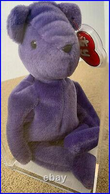 ULTRA RARE Authenticated Ty Old Face Violet Teddy Beanie Baby 1st gen hang tag