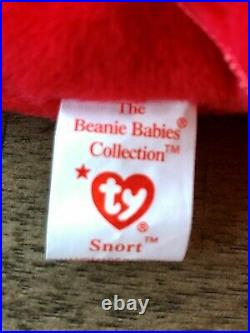 Ultra Rare SNORT the bull TY Beanie Baby 5/15/1995 Tag Errors (PVC) -4002