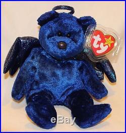 4161642fc79 VERY RARE Halo The Bear Royal Blue Velvet Ty Beanie Baby Error