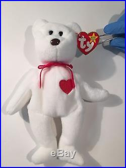 VERY Rare Vintage Valentino Ty Beanie Baby with Mispelled Tag and PVC Pellets