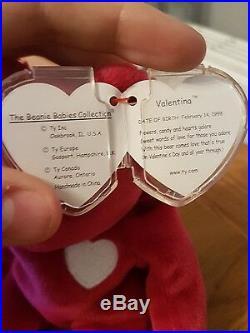 Valentina TY Beanie Baby Bear Rare With Date Errors