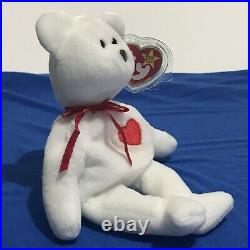 Valentino The Bear Ty Beanie Baby Brown Nose PVC Pellets RARE RETIRED