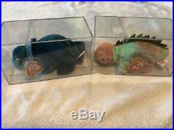 Very RARE TY Original Beanie Baby Iggy Iguana & Rainbow Chameleon 1997 with Errors