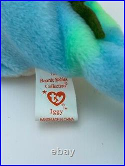 Very Rare TY Beanie Baby Collection Retired Iggy The Iguana August 12, 1997