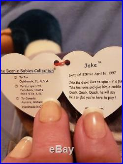 Very Rare TY Beanie Baby Jake, Identical to other