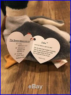 Very Rare TY Beanie Baby Jake the Drake Mallard Duck, Tag with errors
