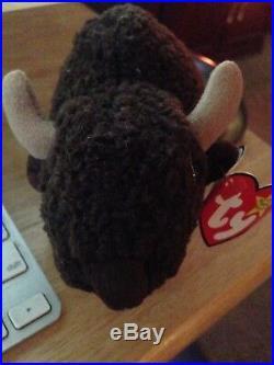Very Rare Ty Beanie Babies Roam The Buffalo Retired 1998 With Error